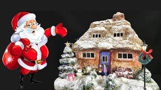 DIY Miniature Christmas House using cardboard and Das clay
