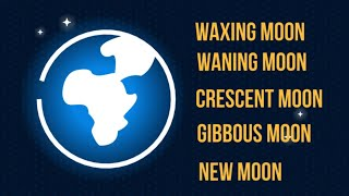 Moon Vocabulary-Waxing Moon-Waning Moon-Crescent and Gibbous Moon-New Moon