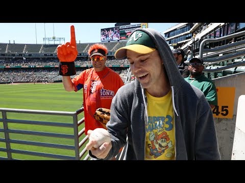 Snagging my 60th GAME HOME RUN at the Oakland Coliseum!
