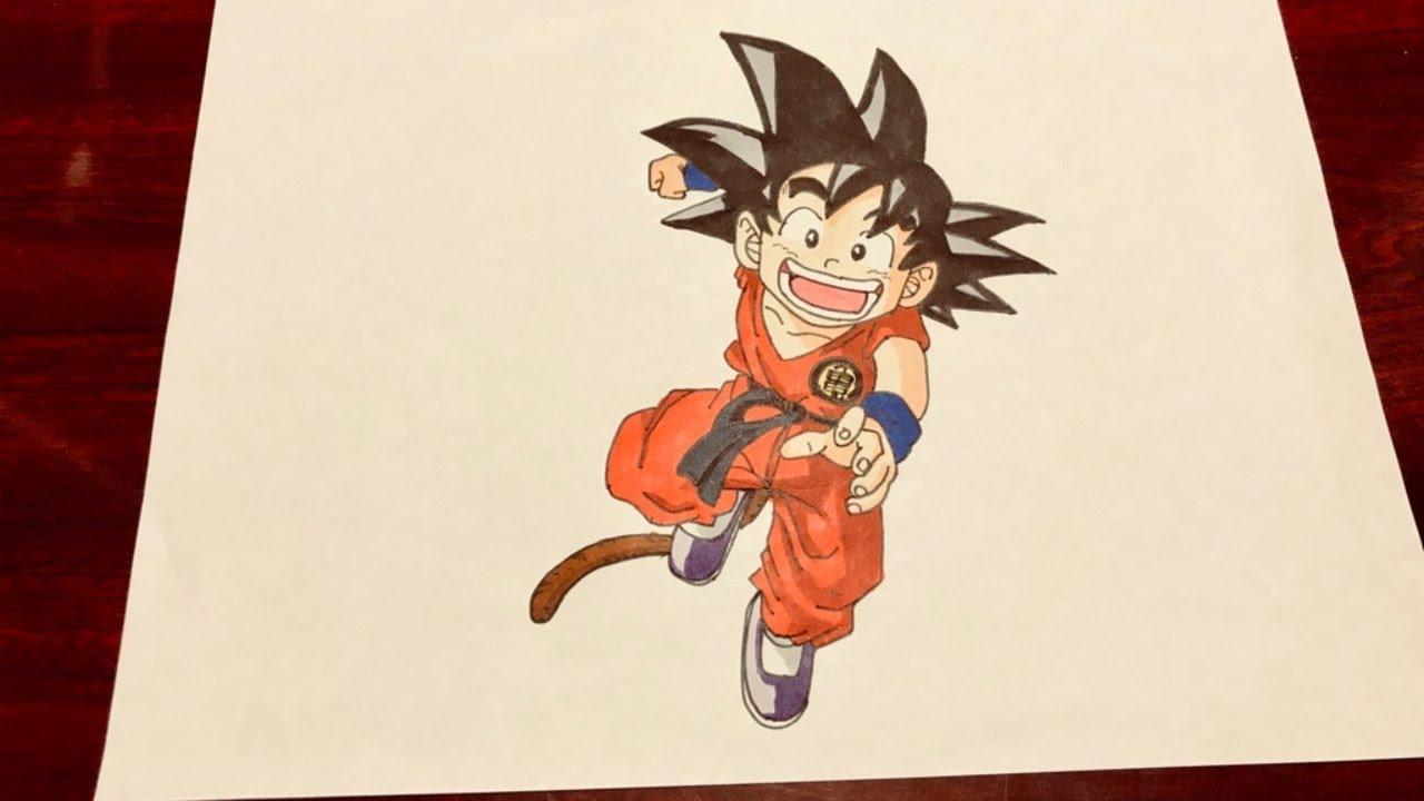How To Draw Japanese Anime Manga Dragon Ball Kid Goku Coloring