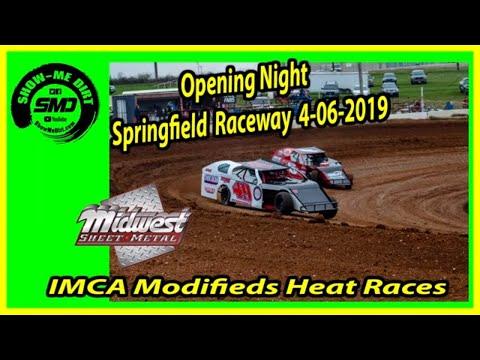 S03 E170 IMCA Modifieds Heat Races - Opening Night Springfield Raceway 4-06-2019 #DirtTrackRacing