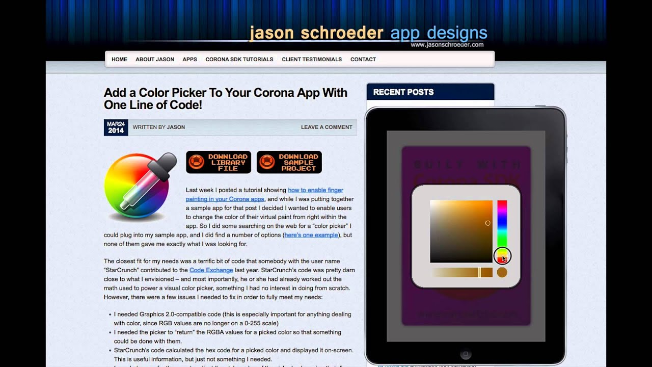 Color picker online rgba - Add A Color Picker To Your Corona App With One Line Of Code Jason Schroeder App Designs