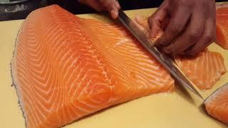How to cut a salmon for sushi,,come tagliare salmone per sushi,,