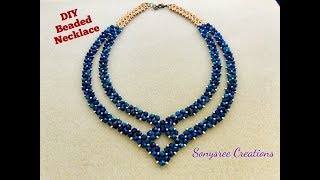Party Wear Beaded Necklace || DIY Beaded Necklace || How to make Beaded Necklace