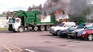 Garbage truck fire at work