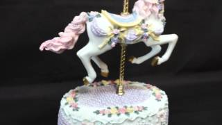 Carousel Horse Music Box Detailed Roses Bows Moves Up And Down