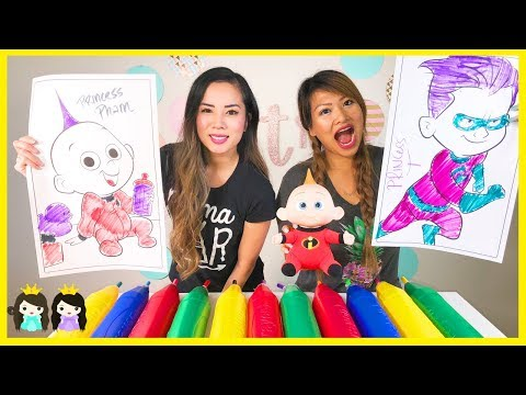 3 Marker Challenge Giant Disney Pixar Incredibles 2 with Jack Jack and Dash