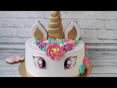Торт Единорог для девочки! Как украсить торт в виде единорога мастер - класс / Unicorn Cake