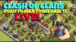 🔴 Clash of Clans // Road to Max TH 11 and 5K SUBS// Gem Boost - Live Stream