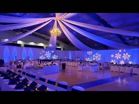 GLAM WINTER WONDERLAND WEDDING + BACKDROP & CEILING DRAPING