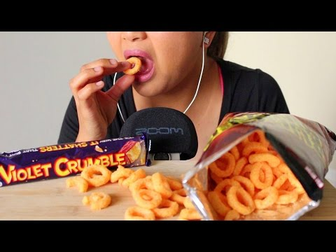 ASMR: Burger Rings and Violet Crumble with ZOOM H6 *EATING SOUNDS BINAURAL*