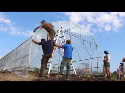 High tunnel plastic installation in 60 seconds
