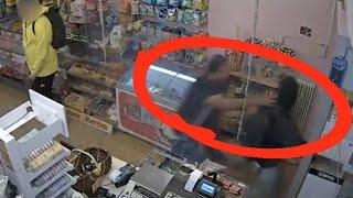 Här upptäcker Muhammad pistolrånaren på Godisnissen i Halmstad