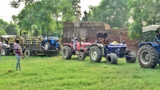 pull fully stuck trali in mud || with 5 tractor || Breakan fail group ||