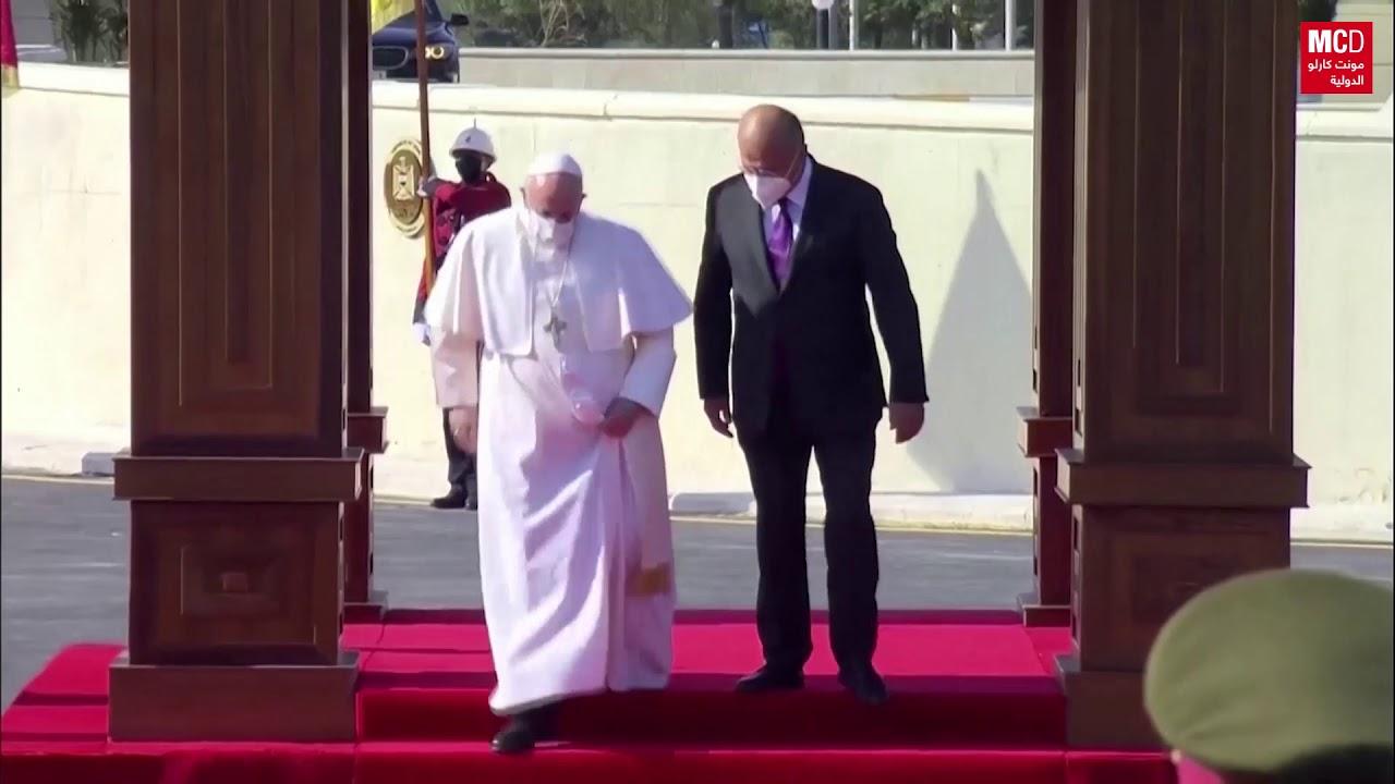 البابا فرنسيس يصل قصر بغداد ويلتقى الرئيس برهم صالح  - نشر قبل 4 ساعة