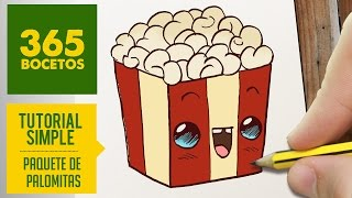 COMO DIBUJAR UNAS PALOMITAS KAWAII PASO A PASO - Dibujos kawaii faciles - How to draw a popcorn