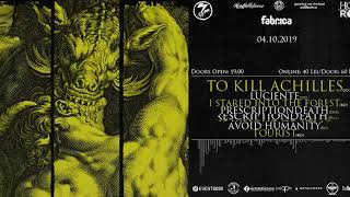 OCT 4 | To Kill Achilles*Luciente*The Weight of Atlas*Prescriptiondeath