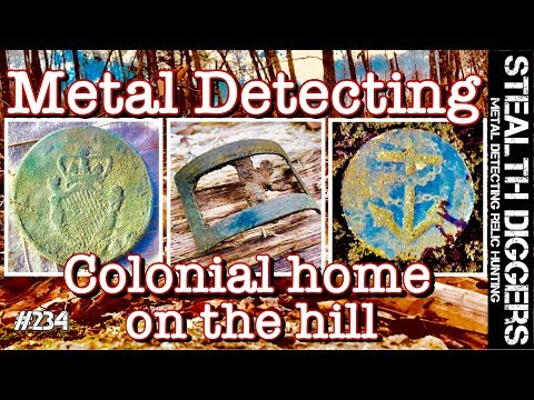 Metal detecting Colonial home on the hill NH cellar hole 1700's coins continental Navy button relics