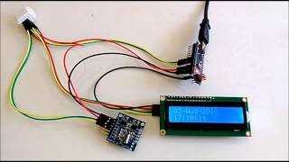 arduino nano show date time from ds1307 real time clock rtc on i2c 2 x 16 lcd display with visuino