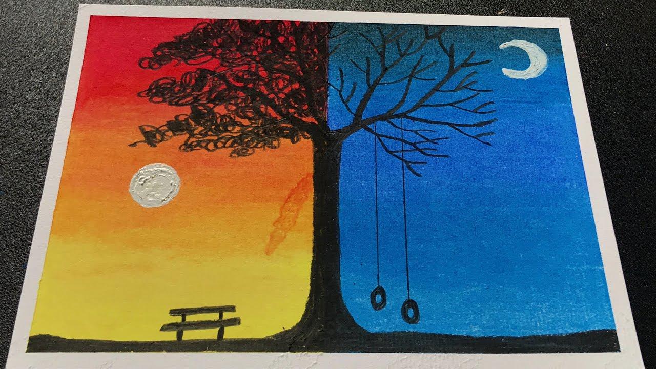 Hướng dẫn vẽ tranh phong cảnh ngày và đêm đơn giản mà đẹp    How to draw simple scenery