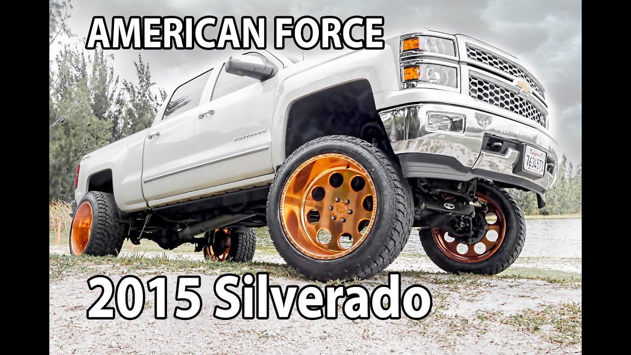 2015 silverado 8 pro comp lift american force wheels special copper finish