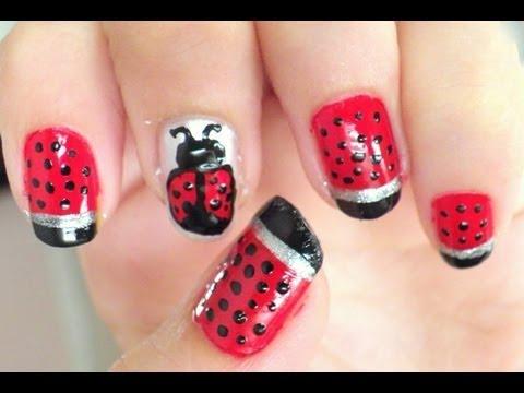 Uñas mariquita - ladybug nails - YouTube