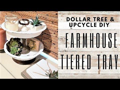 Farmhouse TIERED TRAY Home Decor DIY  ~ DOLLAR TREE DIY & Upcycle Tutorial