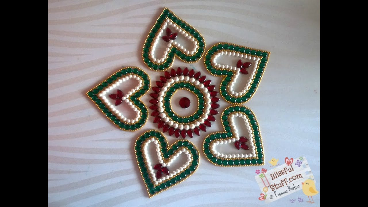 Diy heart shaped kundan rangoli how to make for Best out of waste ideas from bangles