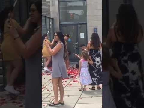 Tim Ben & Brooke - Man Throws Rose Petals On His Friends During Propsal