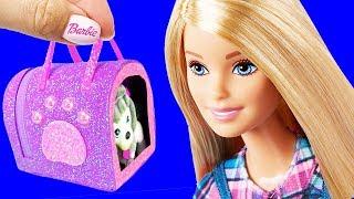 5 DIY Barbie Hacks Pets Miniature Dog Carrier, miniature Collar, leash, Bowl and more Barbie Crafts