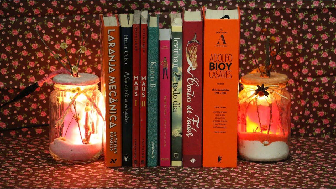 Artesanato Com Madeira Pregos E Linha ~ Aparador de Livros Luminária YouTube