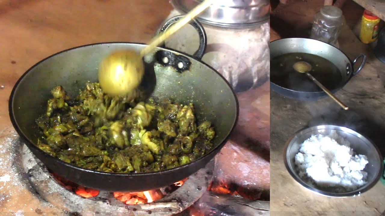 Village Chicken Curry cooking in the village & Eating