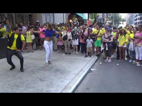 BRAZILIAN GIRL DOES A WILD SAMBA STREET BRAZILIAN TRIBAL  DANCE AT THE 2016 BRAZIL DAY NYC NEW YORK