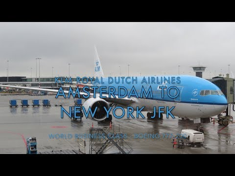 KLM World Business Class Amsterdam Schipol to New York JFK o