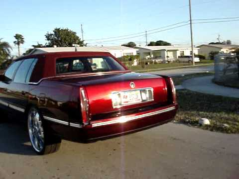 1997 4 Door Cadillac Candy Apple Red Paint On 24 Quot Rims