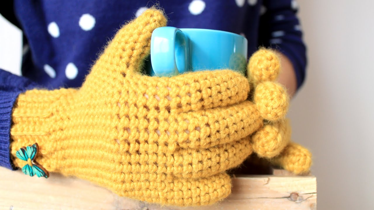 Guantes a Crochet (con dedos) | How to crochet gloves - YouTube