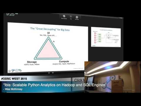 "ODSC WEST 2015 | Wes McKinney - ""Ibis: Scalable Python Analytics on Hadoop and SQL Engines"""