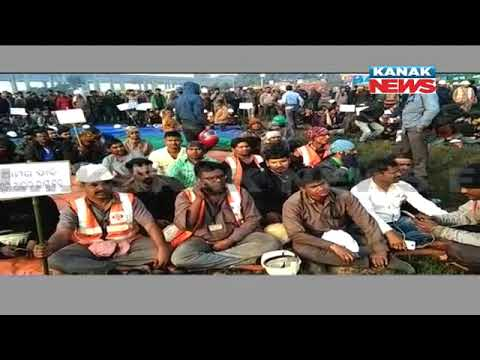 Protest of Port Workers Demanding Reduced Work Hours In Paradip