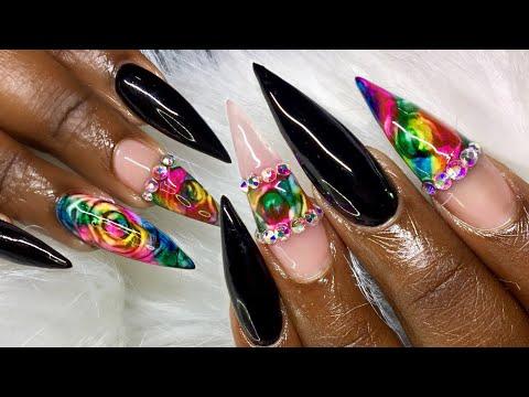 Rainbow Rose Nail Art Tutorial using Sharpie Markers