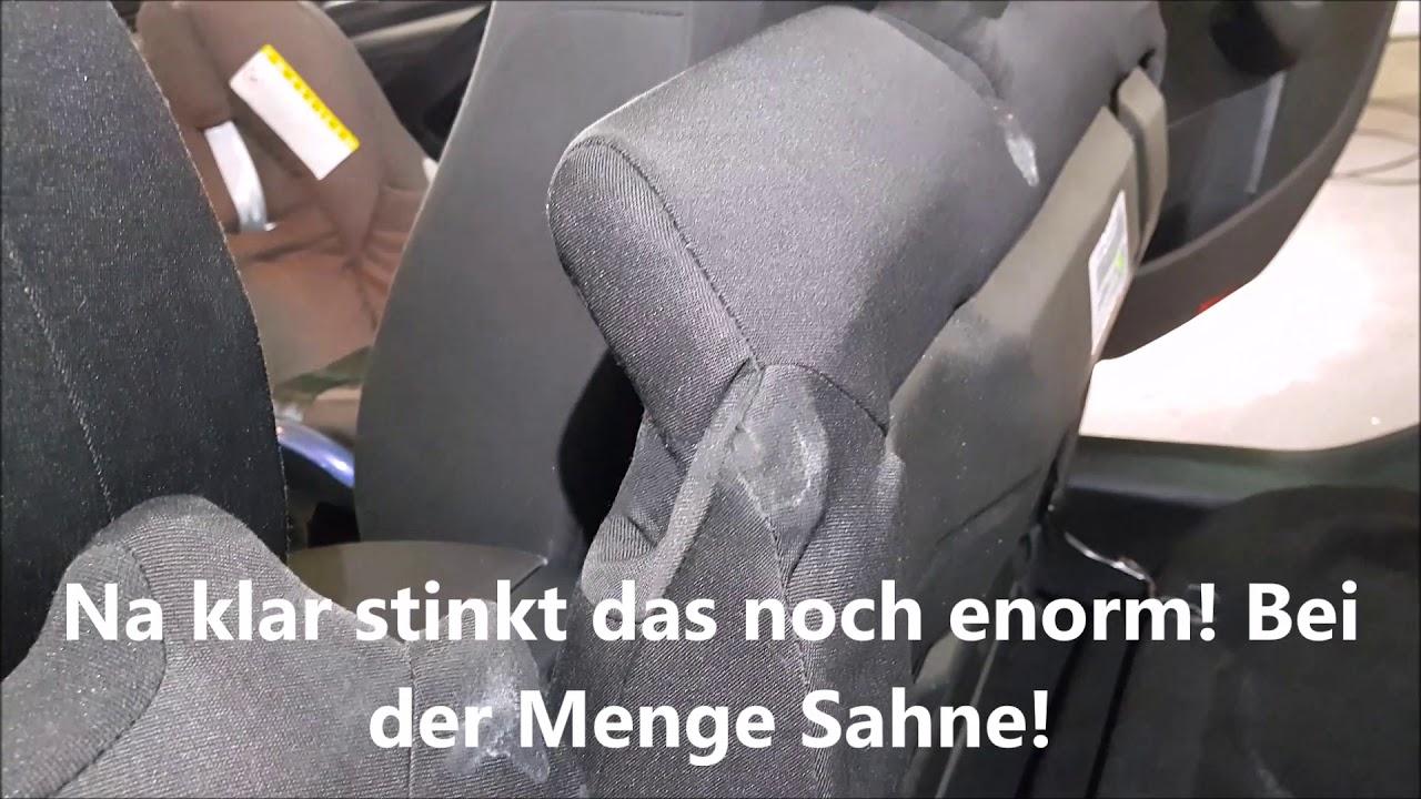 Anleitung Kotze Erbrochenes aus Autositz entfernen | Auto Geruch und Gestank entfernen