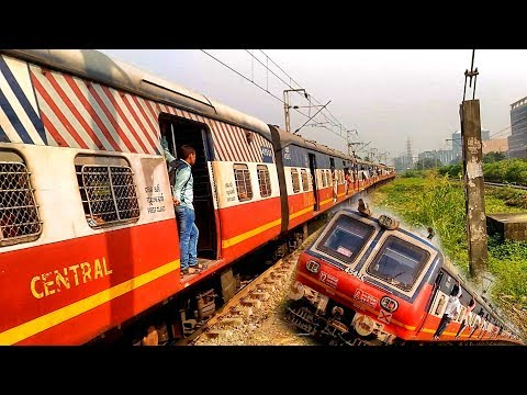 Red Retro EMU Accelerating From Airoli | Panvel - Thane Local  | Mumbai Local Train