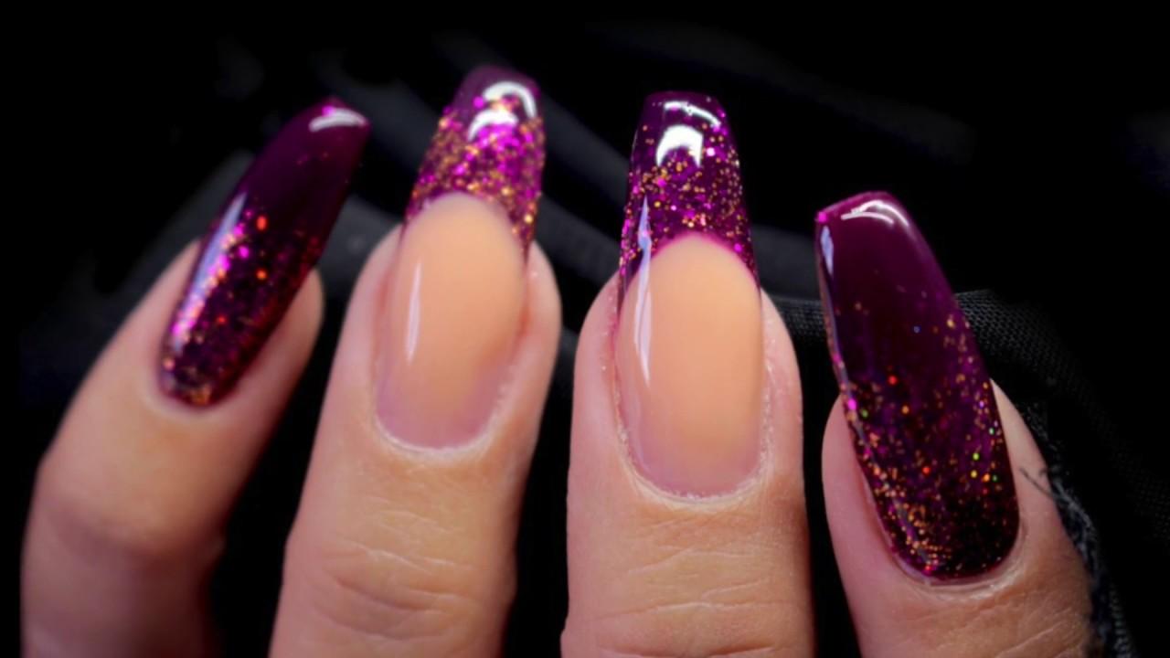 Autumnfall Encapsulated Glitter Design In Hard Gel Youtube