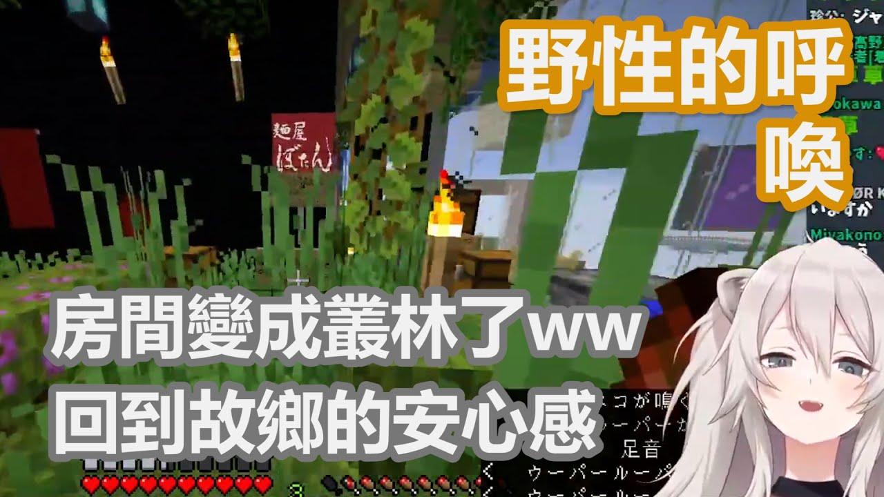 【獅白牡丹】發現房間變成叢林的大獅笑得開懷,還想要定居下來?!【hololive中文】【Minecraft】