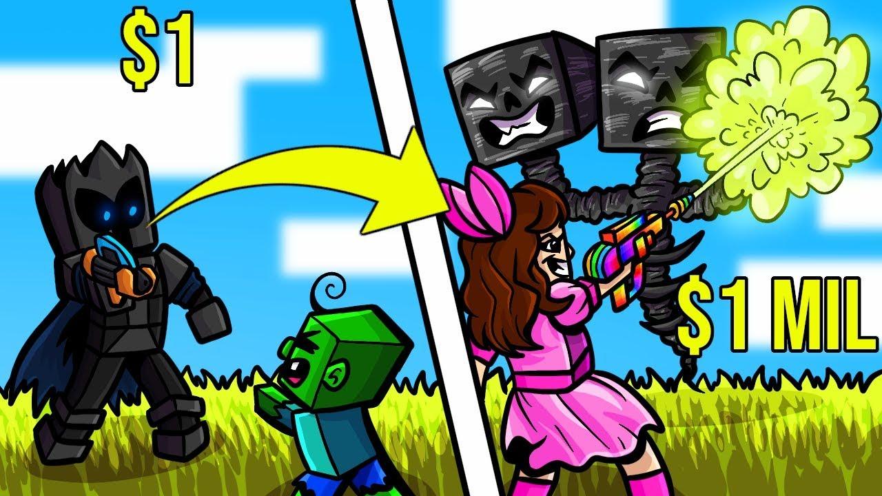 Minecraft: 1 DOLLAR RAY GUN VS 1,000,000 DOLLAR RAINBOW RAY GUN!!! Crafting Mini-Game