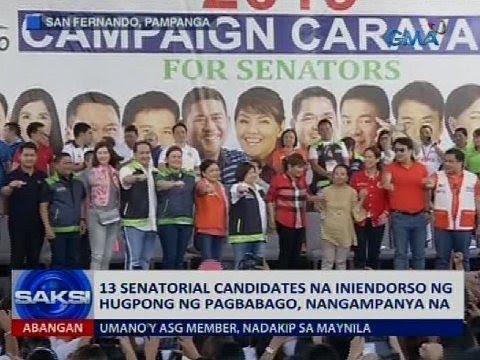 13 senatorial candidate na iniendorso ng Hugpong ng Pagbabago, nangampanya na