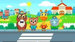 Детский сад с животными.Один день в детском садике.Играем.Гуляем.Кушаем  развивающий мультик