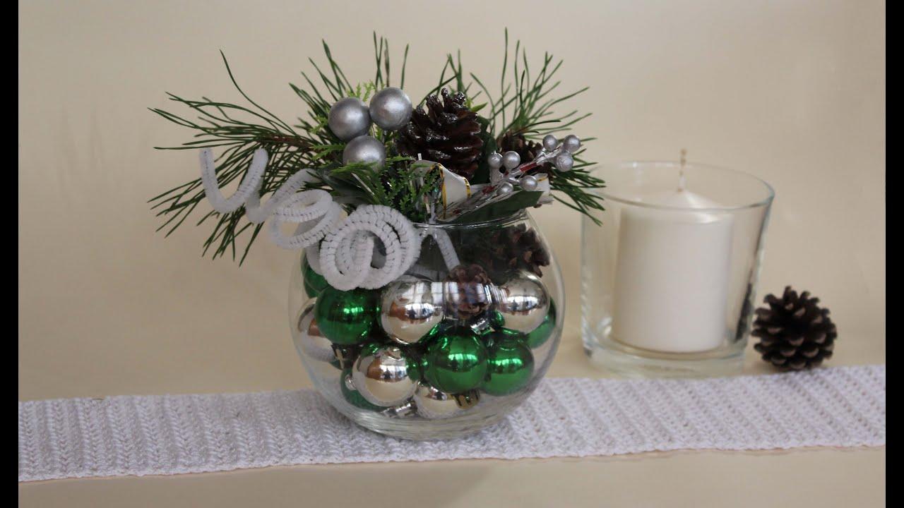 Como hacer un centro de mesa navide o youtube - Como realizar adornos navidenos ...
