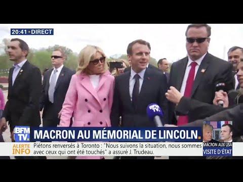 Visite d'État: Emmanuel Macron est arrivé au mémorial de Lincoln avec son épouse Brigitte