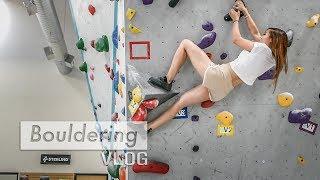Flo sends her first V4 bouldering