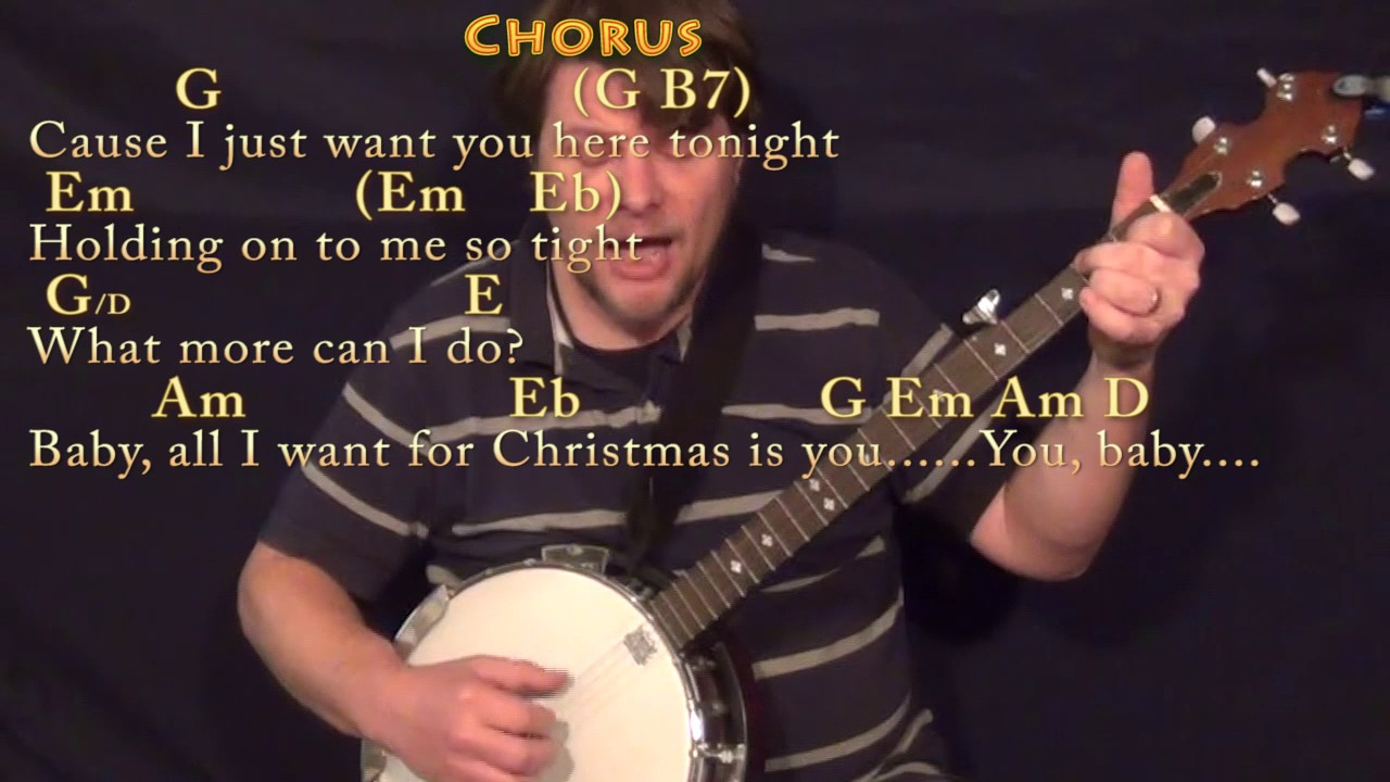 All I Want For Christmas Is You (Mariah Carey) Banjo Cover Lesson ...